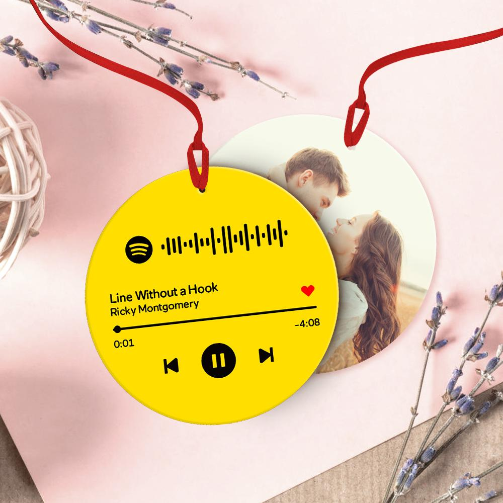 Custom Spotify Code Music Hanging Ornament With Photo - Green For Valentine's Day