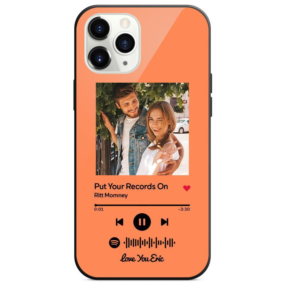 Custom Spotify Code Music iphone Case With Text - Orange