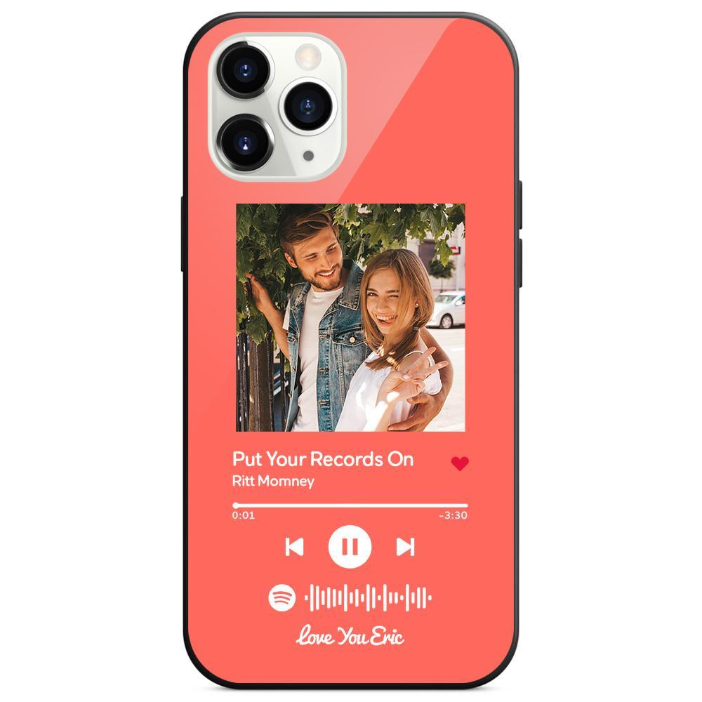 Custom Spotify Code Music iphone Case With Text - Light Pink