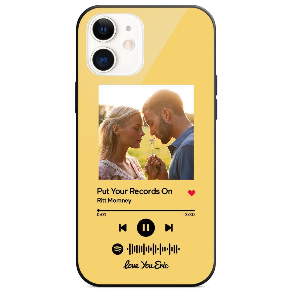Custom Spotify Code Music iphone Case With Text - Yellow