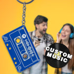 Custom Spotify Code Music Song Keychain Memorial Gifts-Blue