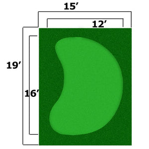 15x19 Complete Par Saver Putting Green w/ Symbior Fringe (Kidney) - Seamed