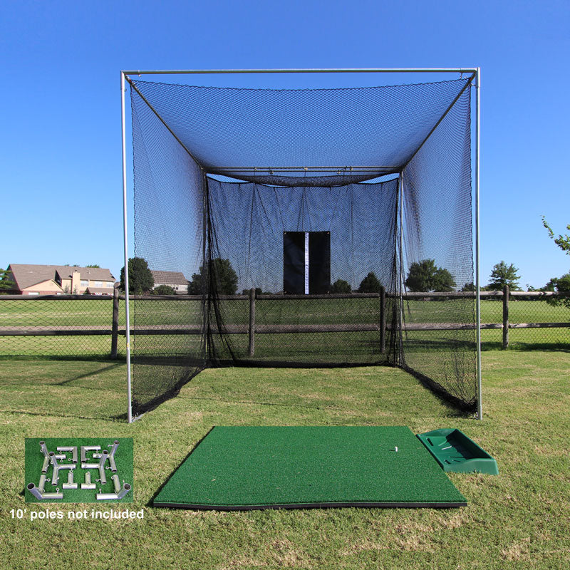 Tee Line Golf Mat, 10x10x10 Masters with Frame kit & ball tray