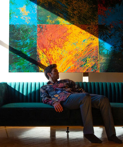 alejandro otaola the wave painting photographed by sean p watters on brooklyn space sofas
