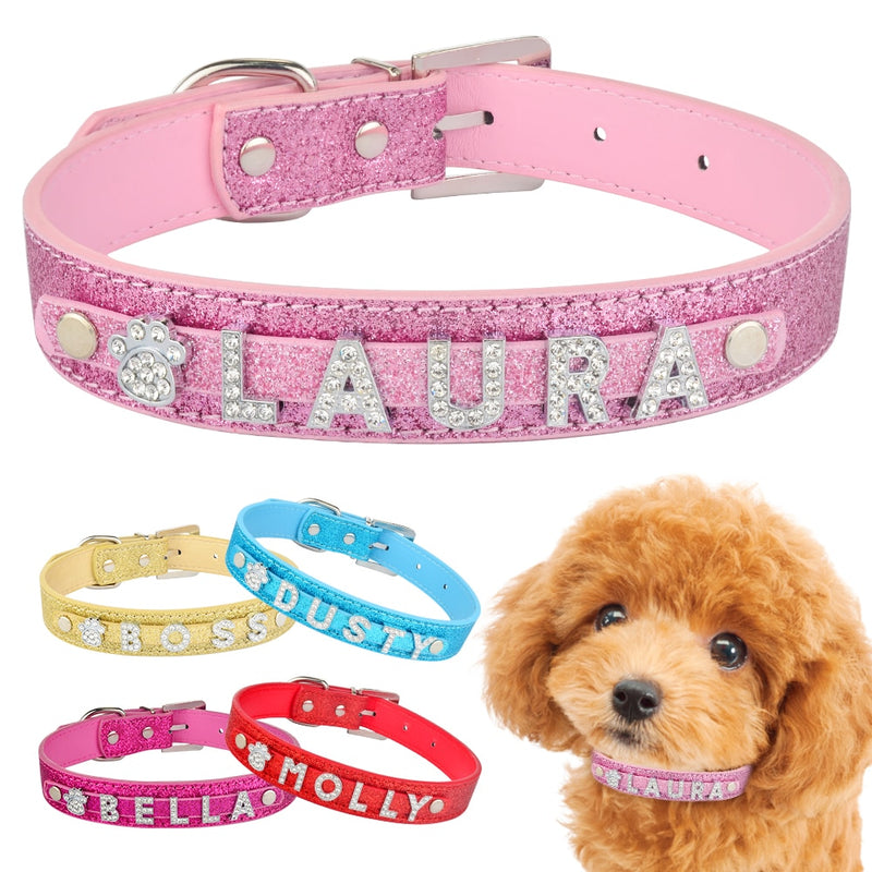 Personalized Leather Rhinestone Bling Charms Collar With Custom Pet Name