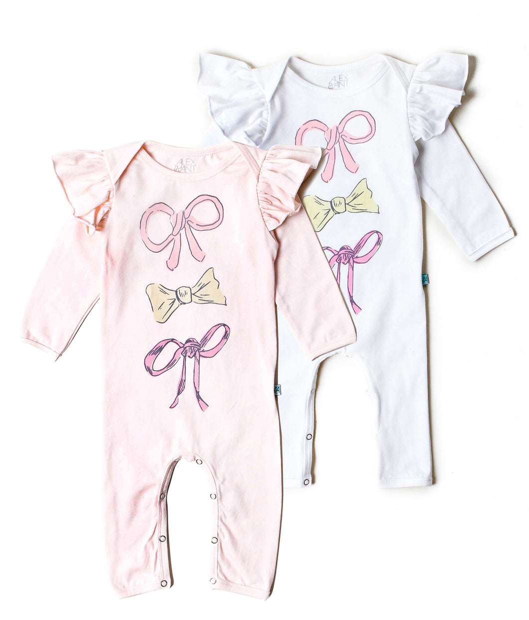 White 3 Bow Onesie- Alex & Ant