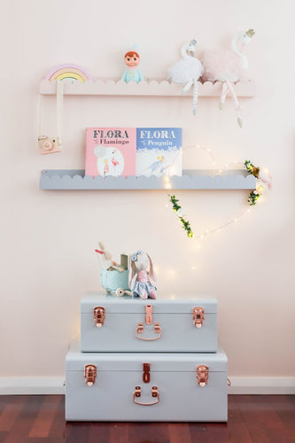 Kids book shelf  with cloud shaped cut out in dusty blue and blush pink. A bright and fun feature for a kids room.