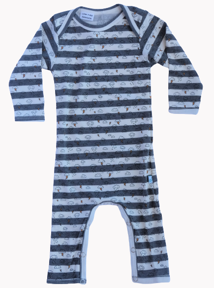 All Cloud Onesie Grey and Cream Stripes - Alex & Ant