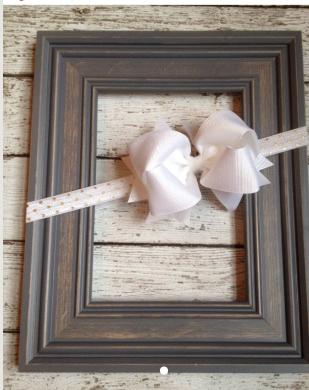 Gold Dotted on White Bow Headband - Camdynreese Headbands