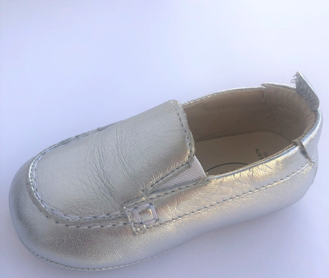Baby Boat Shoes Silver - Old Soles