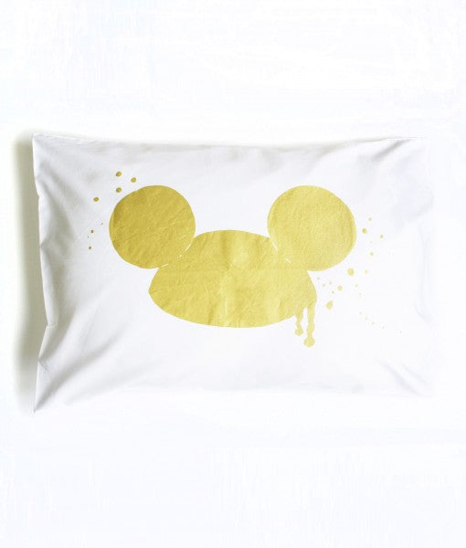 messy mouse pillowcase - gold