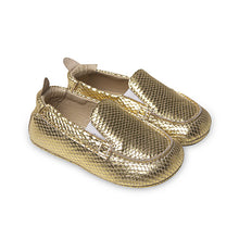 Load image into Gallery viewer, gold snake boat shoes- old soles