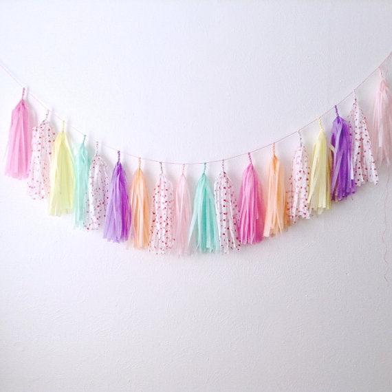 Conversation Hearts Tassel Garland- by Studio Mucci