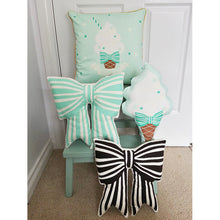 Load image into Gallery viewer, Mint Stripe Bow Cushion