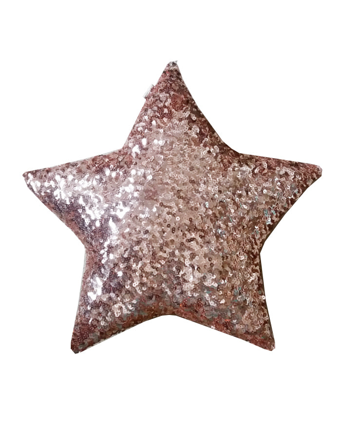 rose gold sequin star cushion