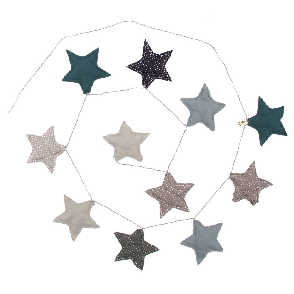 Mix Blue Cotton Padded Star Garland - Numero 74