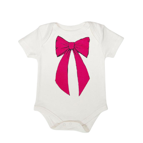 Sweet Bow 100% Organic Cotton Onesie Fushia - Eleventy Five
