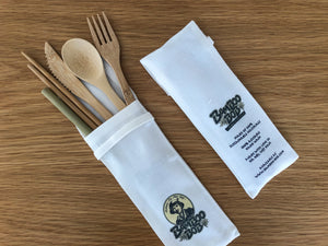 "Open image in slideshow, Wholesale / Branded - Bamboo ""End the Plastic!"" Eco Cutlery Kit (50 kits / carton)"