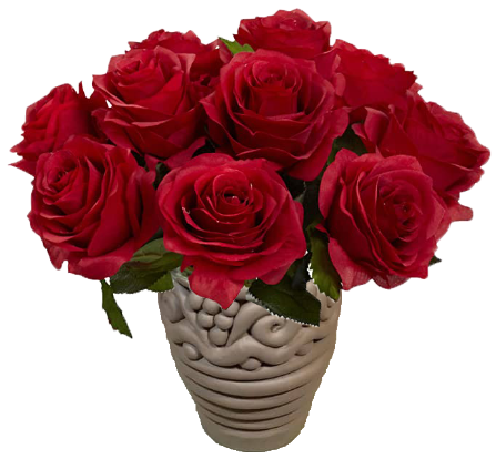 red roses in a handmade coil pot