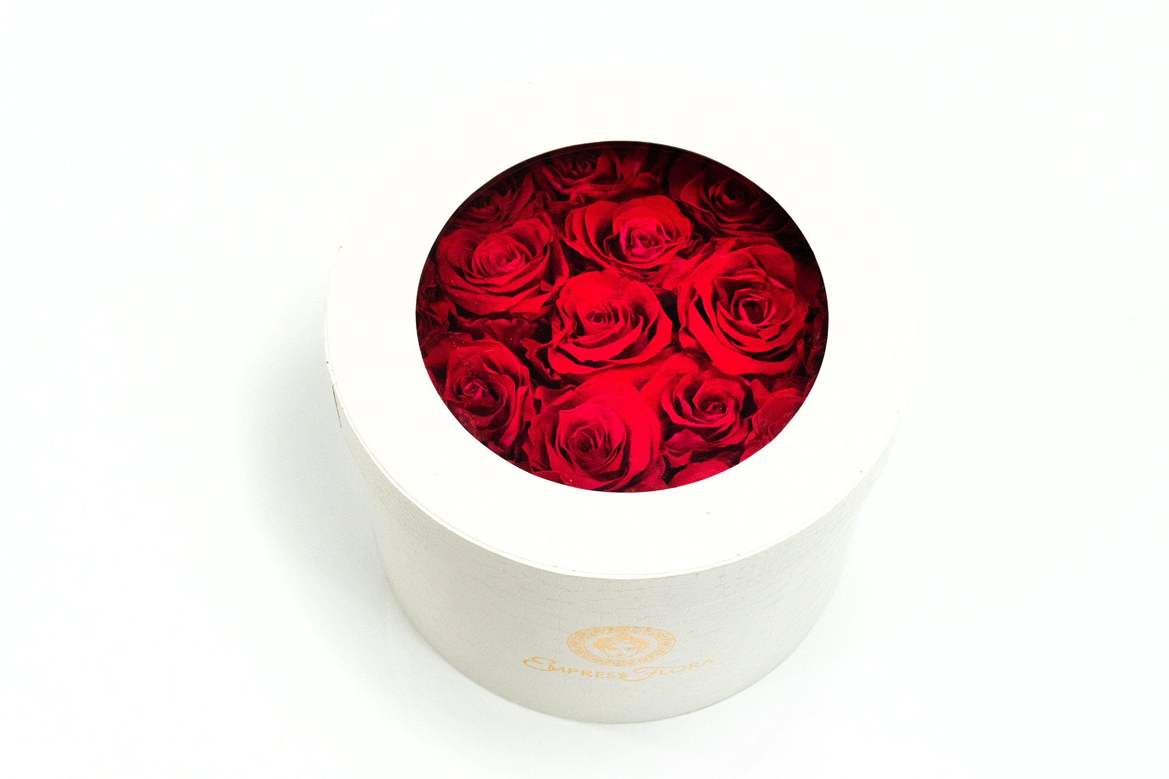 Classic White Round - Ruby Red Rose Main View