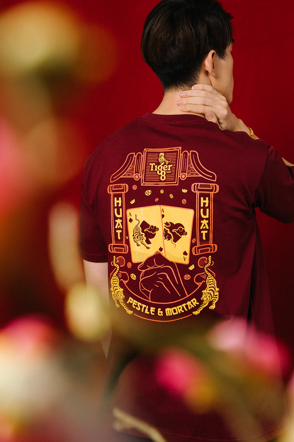 PMC x Tiger 88 Double Aces Tee Burgundy