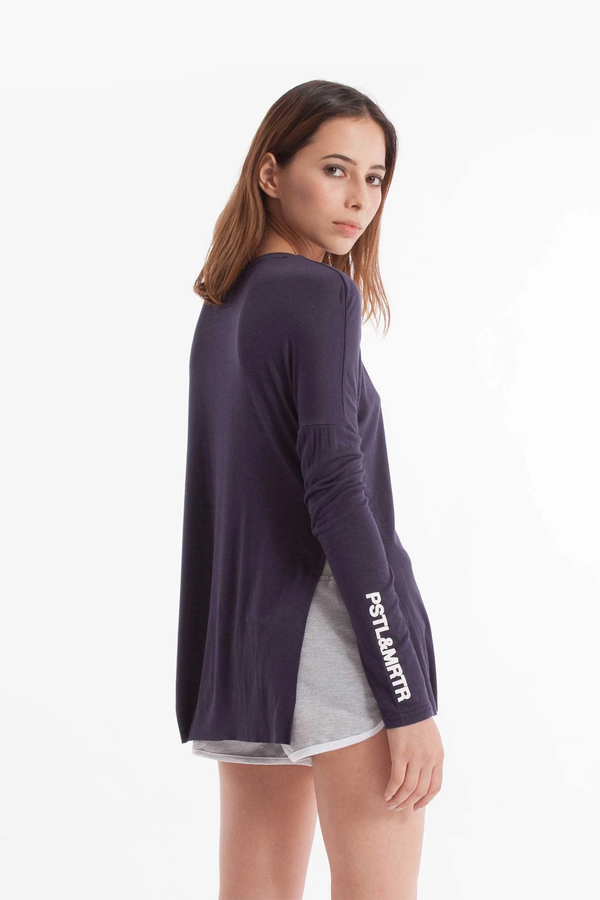 Slinky Long Sleeve Tee Navy Blue