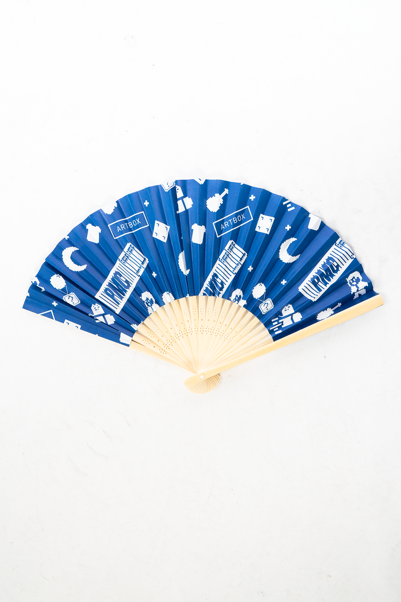 Artbox X PMC Monogram Hand Fan Blue