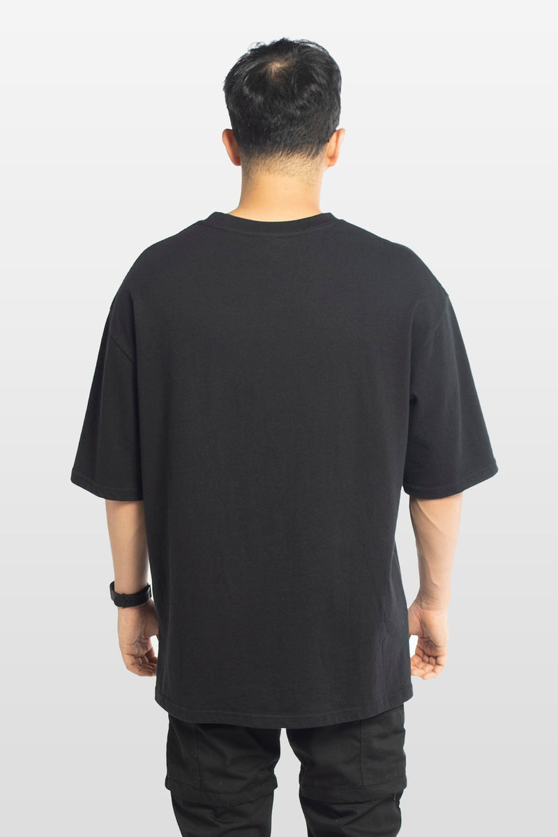Oversized Embroidered Logo Tee Black