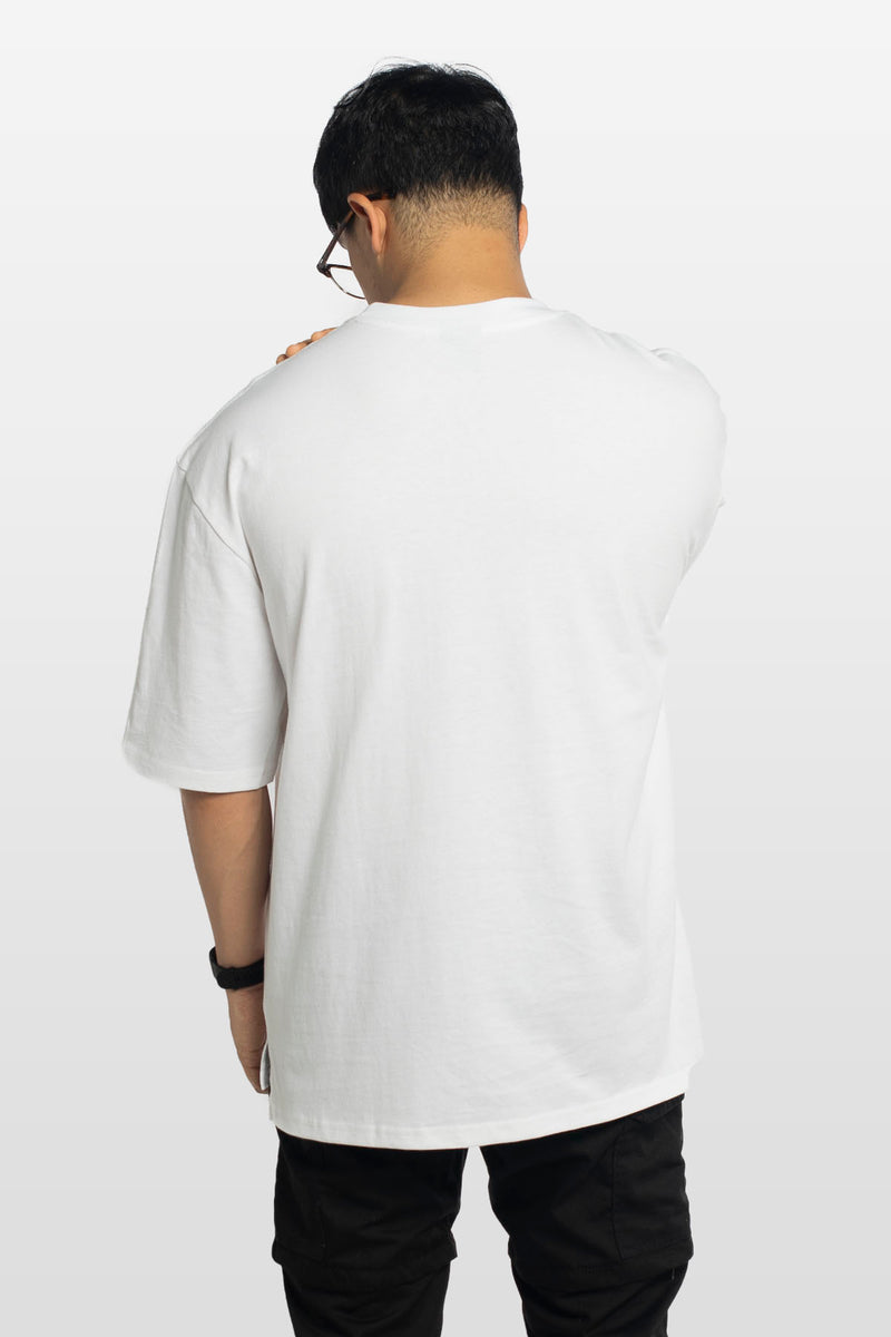 Oversized Embroidered Logo Tee White