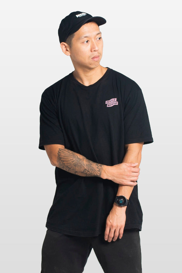 Flying Mechanic Tee Black / Pastel Pink