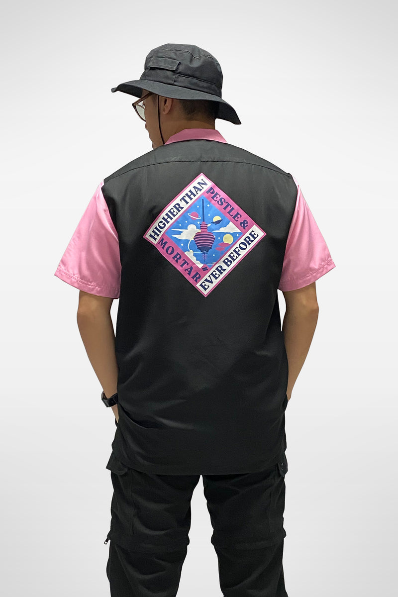 Higher Than Ever Bowling Shirt Black/Pink