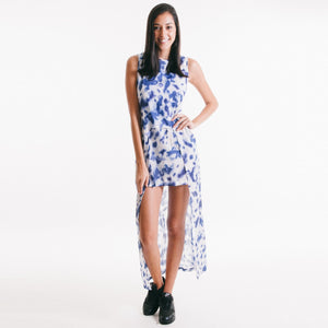 Inked Ladies Dress White/Blue