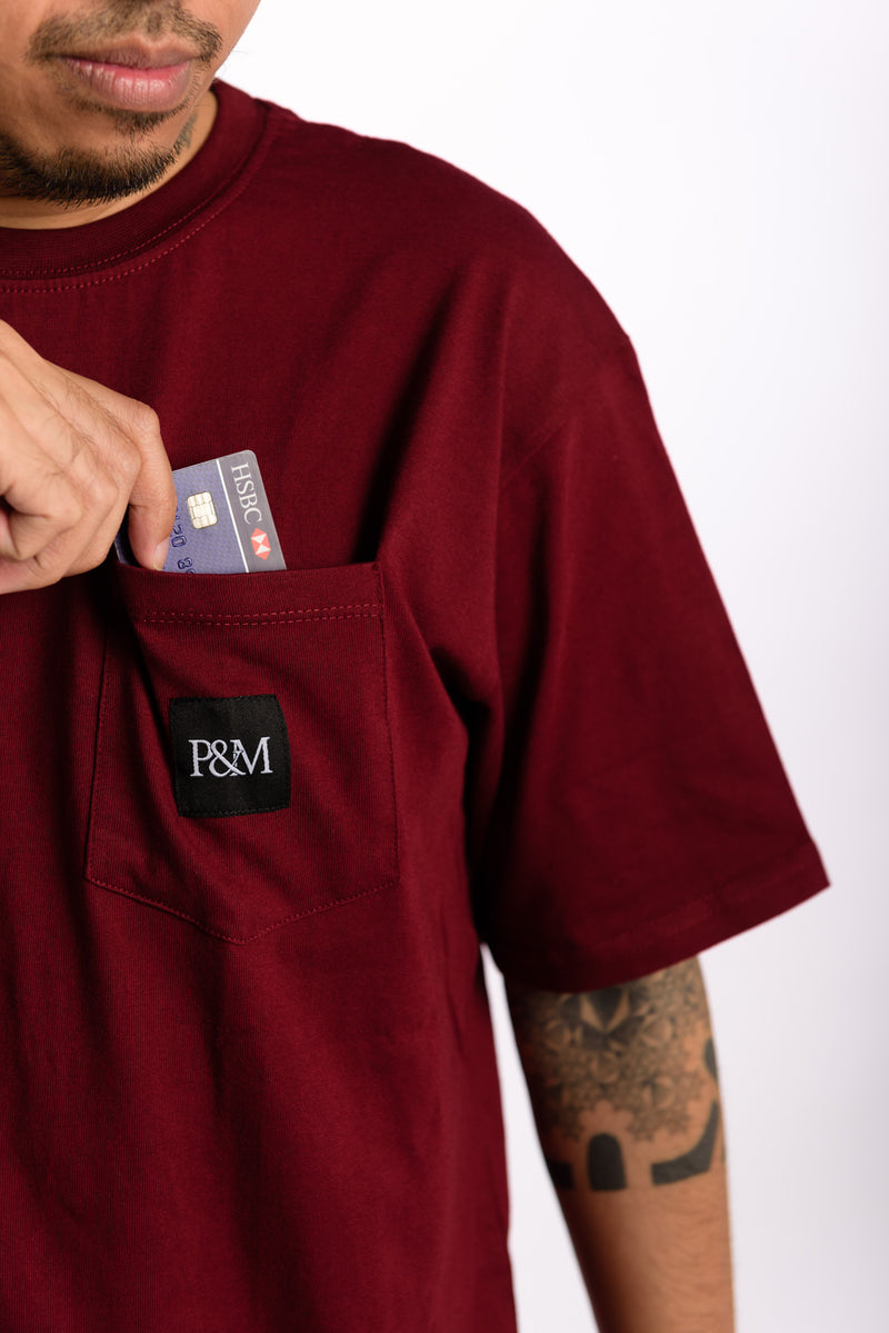 Logo Pocket Tee Burgundy