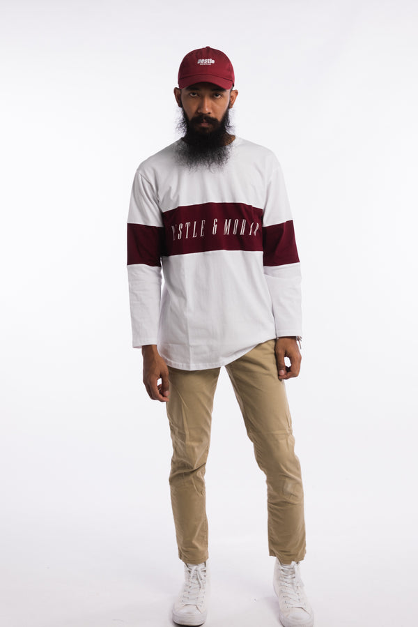 Legacy Long Sleeve Tee White/Burgundy