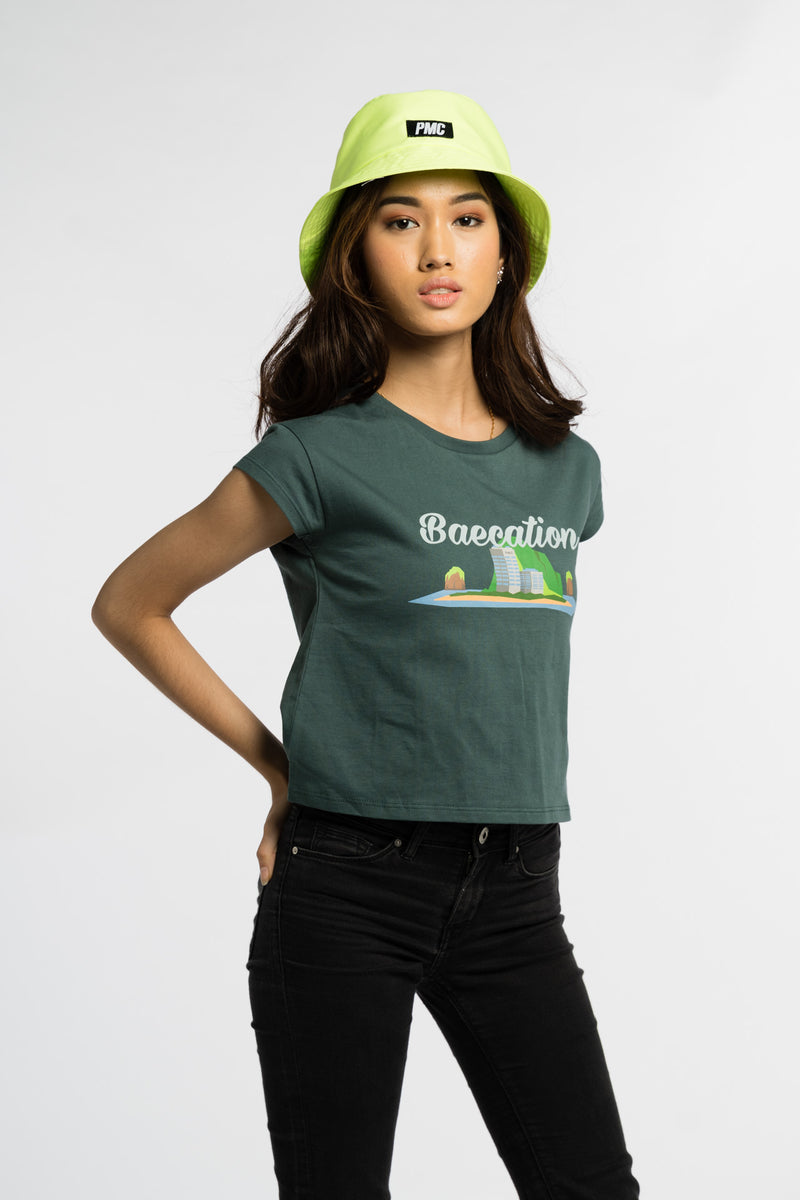 Baecation Crop Tee Green