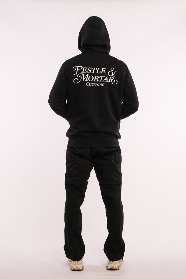 Embroidered Cursive Logo Hoodie Black