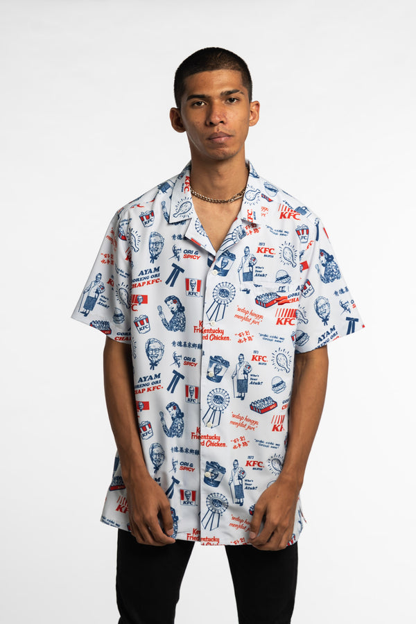 The Complete Meal Bowling Shirt White