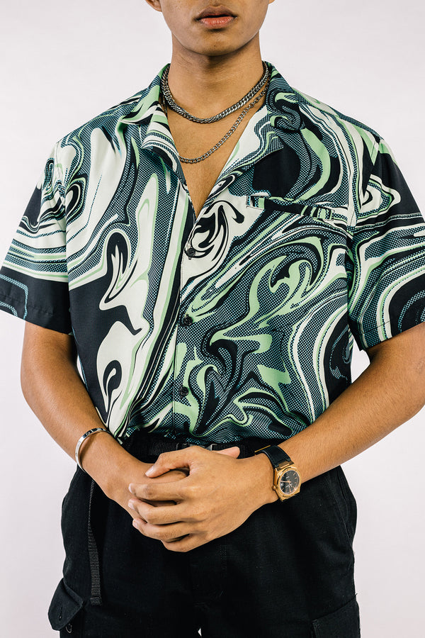Marble Bowling Shirt Green (PRE-ORDER)