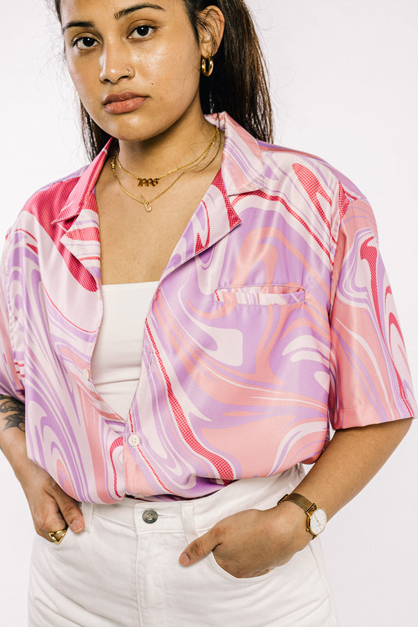 Marble Bowling Shirt Pink (PRE-ORDER)