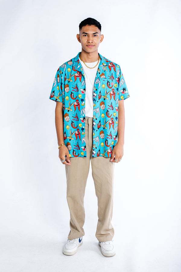 PMC x Looney Tunes 90's Era Bowling Shirt Blue