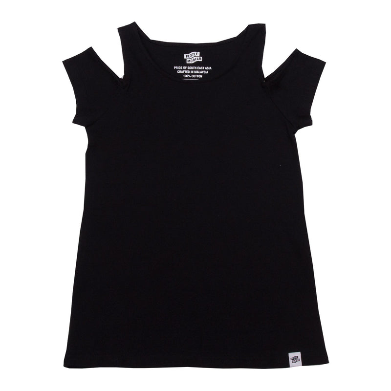 Cold Shoulder Tee Black