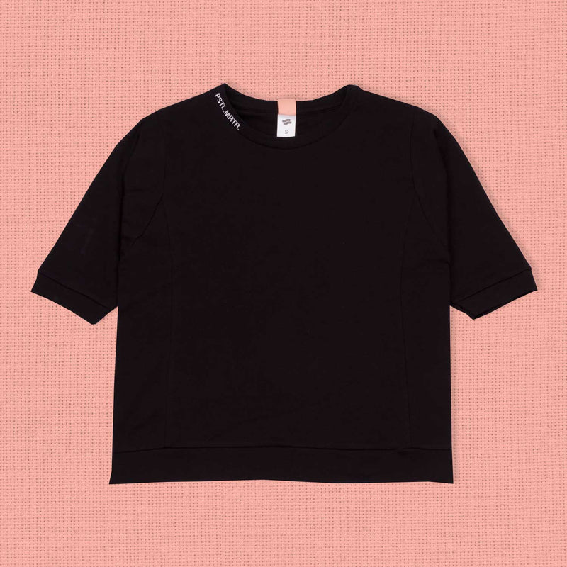 Embroidered Short Sleeve Crewneck Onyx