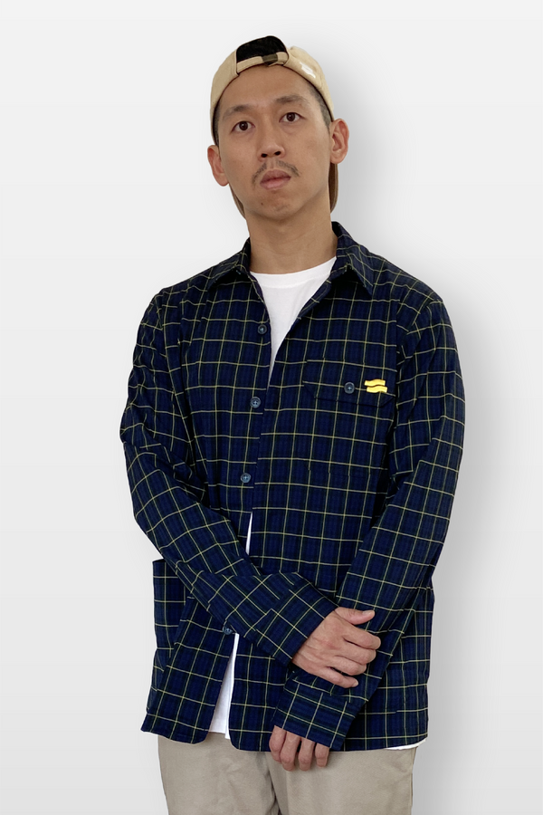 Mechanic Checkered Shirt Navy/Yellow