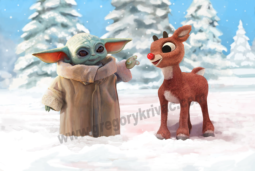 Baby Yoda (Grogu) and Rudolph