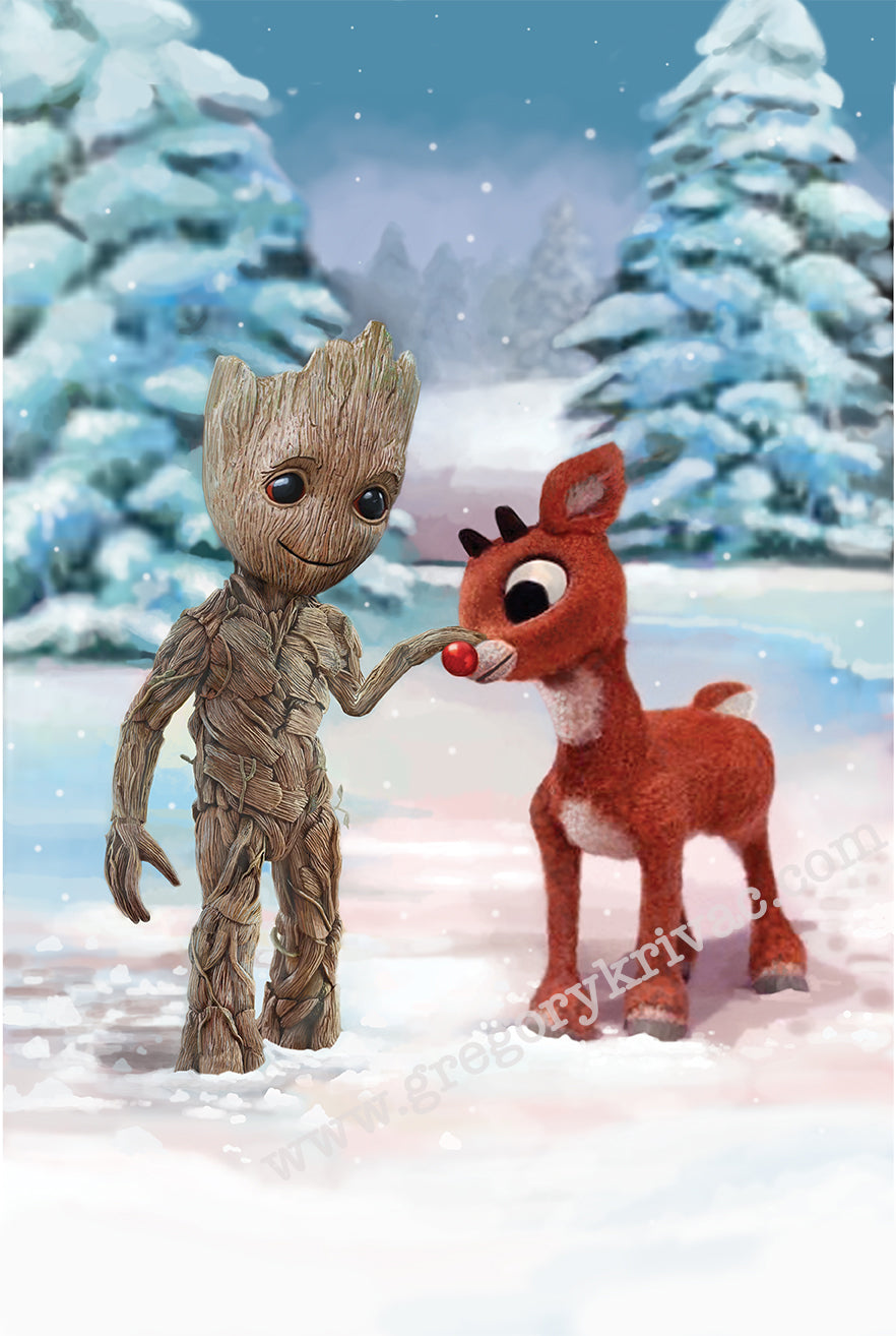 Baby Groot and Rudolph the Red Nosed Reindeer