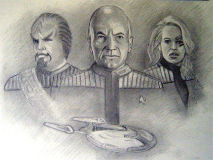 Pencil sketch- Star Trek with Picard, Worf and 7 of 9