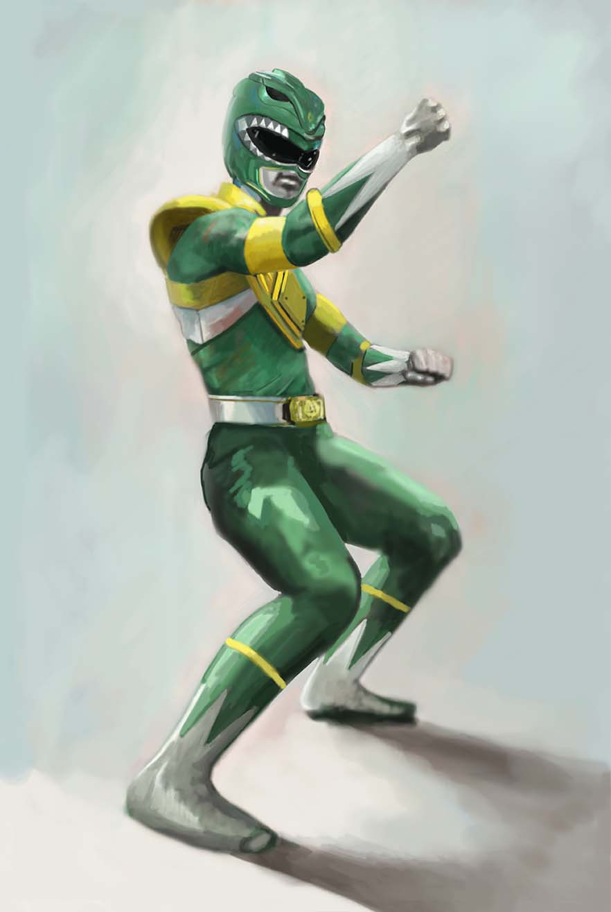 Oil sketch for the Green Ranger as part of the Power Rangers Series