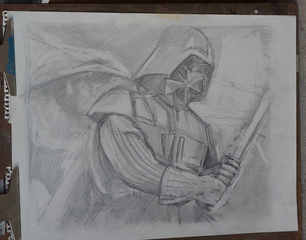 pencil sketch for Darth Vader painting