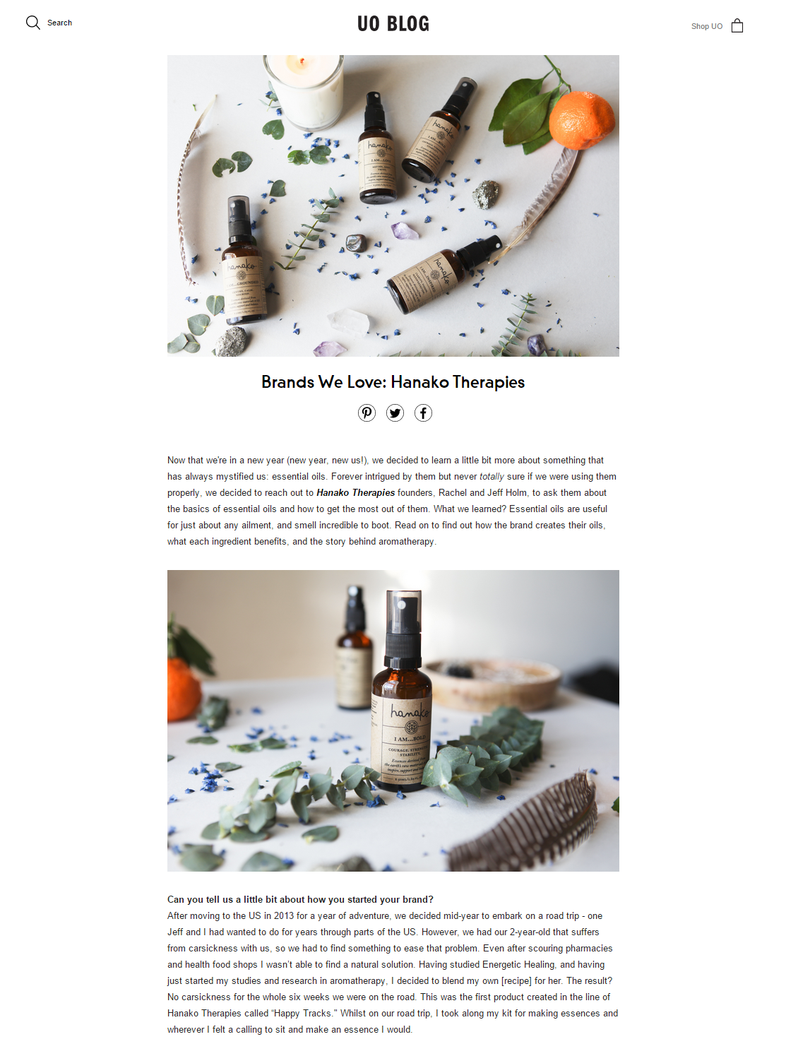 Hanako Therapies featured in Urban Outfitters