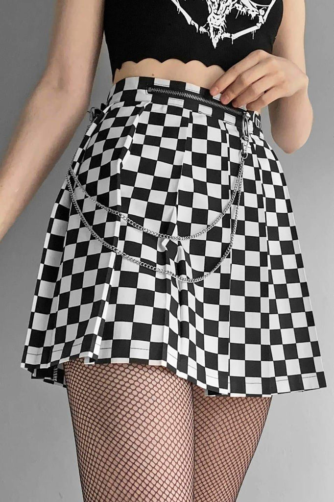 Checkerboard Pleated Skirt - Love Too True